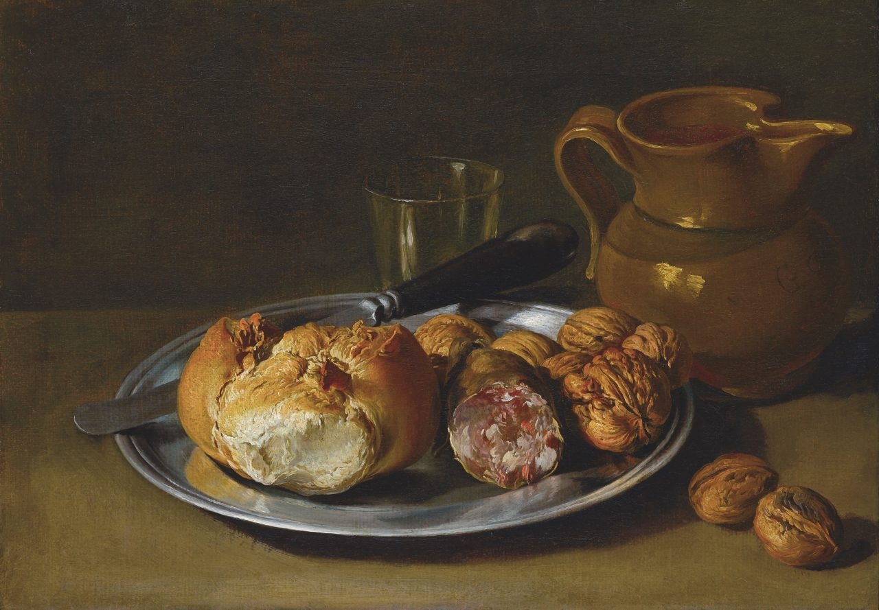Giacomo Ceruti, Still life with Bread, Salami and Nuts, ca. 1750-60 Lombard still life baroque