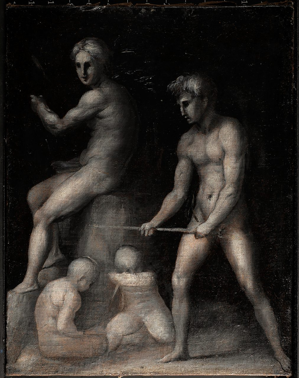 Jacopo da Pontormo, Labors of Adam and Eve, with Cain and Abel, ca. 1515-18, oil on canvas, Private Collection, United States